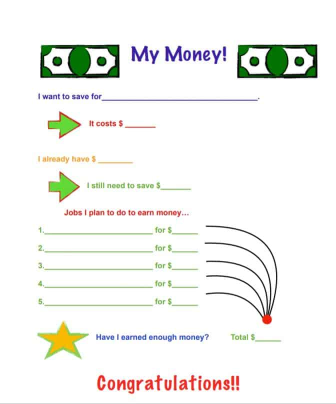 Kids Money Saving Chart