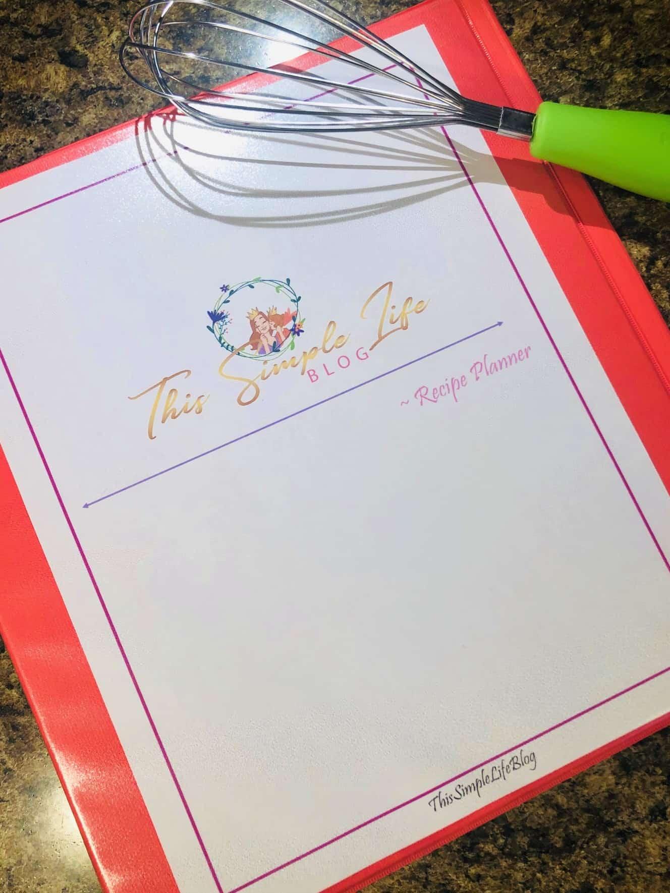 This Simple Life Recipe Planner