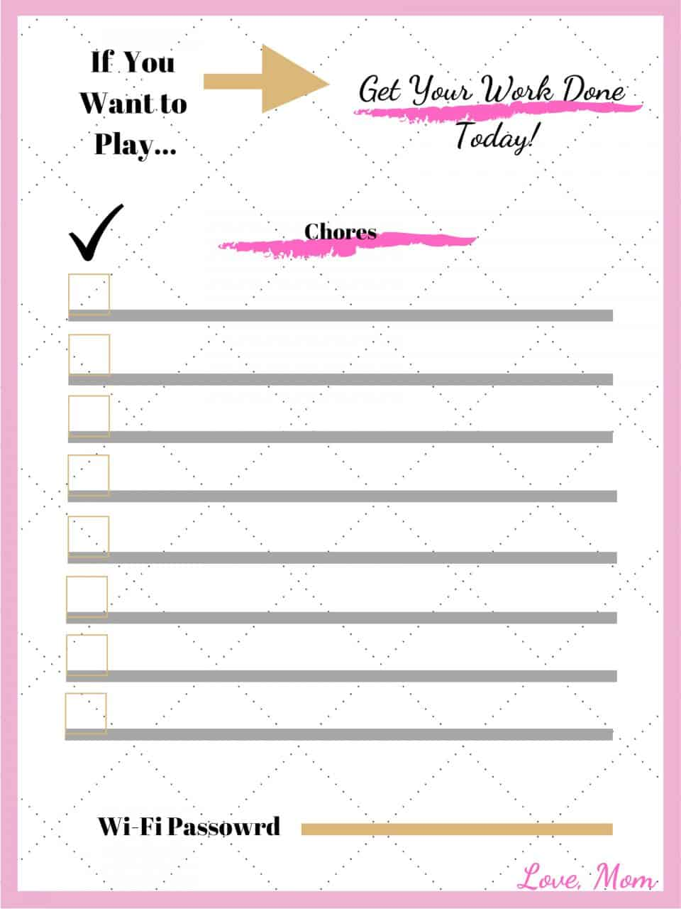 Motherhood, Parenting, Kids, Wi-Fi password Chore Chart